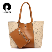 REALER brand fashion women shoulder bag female high quality hollow composite tote bag large capacity handbag Gray/Brown/Wine Red(China)