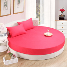 SunnyRain 3-Piece Solid Color 100% Cotton Round Fitted Sheet Set Round Bed Sheet Bedding Set Round Mattress Topper 200cm 220cm(China)