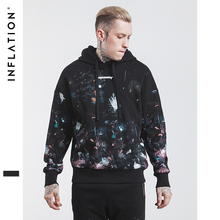 INFLATION New 2017 Autumn Fashion Rock Black Printed Hoodies High Street Hip Hop Male Hoodies Fashion Casual Hoodies 502W17(China)