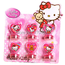 Free Shipping 6pcs cartoon stamper Hello Kitty Stamp DIY Cartoon Stamp Seal stamp helokitty toy gift for Children(China)