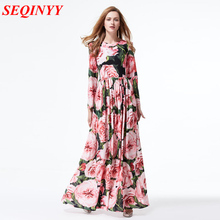 Bohemian Print Chiffon Dresses 2017 Spring Fashion Elegant Beautiful Flowers Long Sleeves Slim Large Swing Women Long Dress