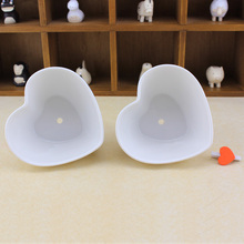 Small Heart Shape White Ceramic Juicy Flowerpots Plants Flowers Vase Container Micro Garden Decoration Small Bonsai Pots for DIY(China)