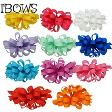 "4"" New Trendy Boutique Korker Hairbow Ribbon Flower Korker Hair Bow With Clip Girl Fashion Hair Accessories"