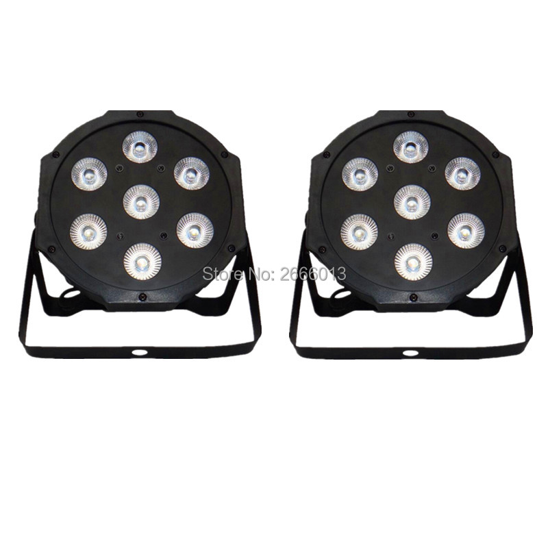 2pcs/lot 7x12W LED Par RGBW 4IN1 LED Wash Light Stage Uplighting No Noise DMX512 Led Flat Par Lights dj equipment dyeing lamps<br>