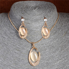 SHUANGR Gold Color Unique C Cat Eye Beautiful Pendant Necklace Earrings Fashion Jewelry Sets