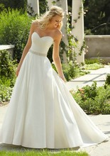 Free Shipping Simple Wedding Dress Elegant Cour Train Sweetheart Satin Bridal Gown Custom Made For Womens