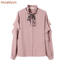 Muqisiyun 2018 Spring Women Princess Casual Style Long Sleeves Bow Stripe Blouse Female Shirt Button Shirts DW6164(China)