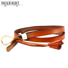 Best YBT Women's Belt Ellipse Tie a knot casual fasion Belt Solid color Alloy buckle PU skin Belt Multicolor optional(China)