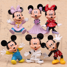 Disney 6pcs/Lot Mickey Mouse Anime Figure Set Minnie Mouse Plastic Toys Pvc Action Figure Set Kids Toys Baby Gift For Boys Girls