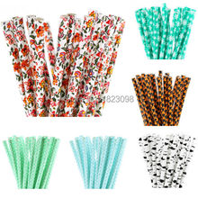 25pcs/lot Patterned Paper Straws for Kids Birthday Wedding Decoration Party Straws Supplies Paper Drinking Straws