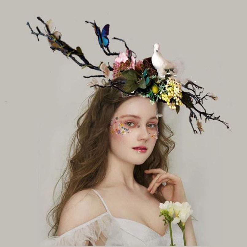 bird flower butterfly headband mask bride photograph show carnival cosplay forest fairy headpiece hair accessories for women