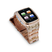 Hot Model stainless steel smart watch smart mobile watch phone wristwatch with support SD card Smart watch metal case and belt(China)
