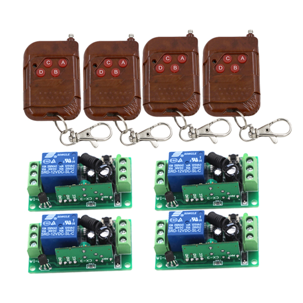 Fixed code 12V 1CH 4pcs Transmitter+ 4pcs Receiver RF Wireless Remote Control Switch 3414<br>