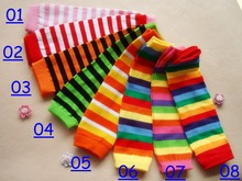 Free UPS Ship 2016 New Baby Christmas Legging Warmer Infant rainbow striped Leg Warmer Socks adult colorful arm warmers(China)