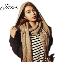 2017 Newest Designer Winter Women Scarf Wool Warm Bufandas Long Hooded Cashmere Scarves Cachecol Female Women Scarf with Hat(China)