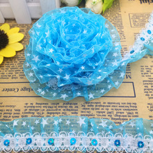 DIY 5 yards 2-Layer 30mm Width Stars Organza Lace Gathered Pleated Sequined Trim Home Handmade Cloth Decoration