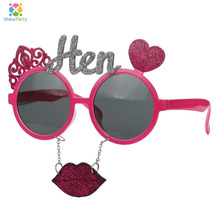 Fun Bachelorette Party Sunglasses Mask Hot Pink Hen Party Game Decoration Photo Booth Props Favor Gifts(China)