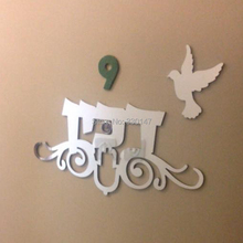 Hebrew Doorplate Indication With Number Bird as Pic tAcrylic Mirror Wall Sticker Custom Your Family Name For Israel Friends