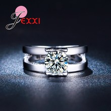 JEXXI Silver Fashion High Quality Women Wedding Jewelry Accessories Double Two Band Rings Lovely Bear Charm Crystal Ring(China)