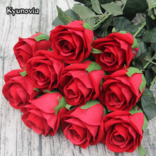 Kyunovia 72CM Single Rose Stem high quality Artificial Silk Flowers Leaves Red Velvet Rose Wedding Party Home Decorative KY41(China)