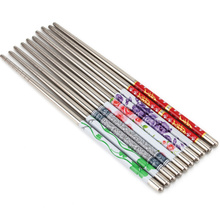 5 Pairs Flower Print Stainless Steel Chinese Chopsticks Anti-skip Style Durable Chop Sticks Dinner Tableware for Home Restaurant(China)