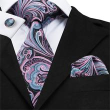 SN-1643 Pink Paisley Jacquare Woven Ties For Men 100% Silk Necktie Fashion Mens Tie New Designer Men's Neck Tie Square Cufflinks(China)