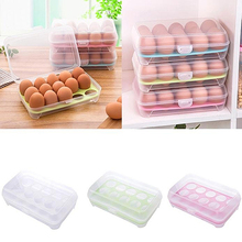 Single Layer 15 Grids Eggs Holder Box Plastic Airtight Container Plastic Storage Case
