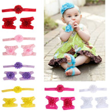 Sale like a hot cake Boy Girl Headband Set Sweet Cute Colorful Foot Flower Barefoot Sandals Baby Infants Headwear tiara Krystal