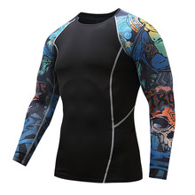 Add muscle male compression tight t-shirts long sleeve printed on both sides of MMA Rashguard fitness base layer weights to wear(China)