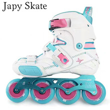 Japy Skate 2017 POWERSLIDE S4 Professional Slalom Skates Adult Roller Skating Shoes Sliding Free Skating Patines Inline Skates(China)