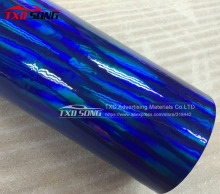 Free shipping Blue holographic chrome rainbow vinyl film car wrap rainbow sticker with size:1.52x20m/Roll