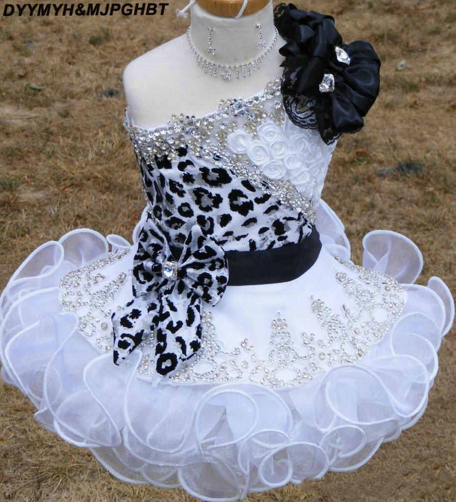 New Glitz Pageant Dresses for Girls Toddler leopard print One shoulder Black and White Organza Beaded with Handmade Flowers (1)