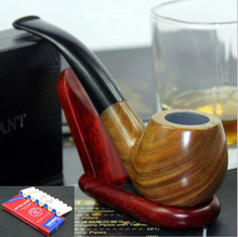16 Tools Classic Durable Handmade Yellow Wood Sandalwood Smoking Pipe Weed Tobacco Wooden Pipes Set 9mm Filters 860y