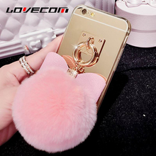 LOVECOM For Samsung S8 Plus S3 S4 S5 S6 S7 Edge Note 5 Grand Prime G530 Cover DIY Mirror Fur Ball Bowknot Soft TPU Phone Case(China)