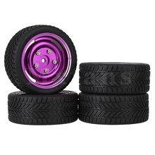 Mxfans 4 x RC1:10 On-road Car Black Single-oriented Tire& Purple Alloy 4 Holes Wheel Rim(China)