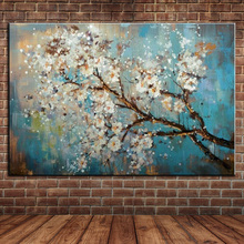 Large Modern Wall Decoration Floral Blooming Peach Branch Handpainted Oil Painting On Canvas Wall Art Picture No Frame
