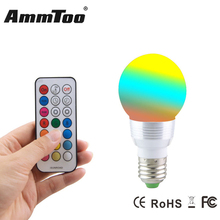 RGB LED Bulb E27 7W 85-265V Lampada Led Spot Lamp Light with Remote Control Timing Function For Christmas Party Home Lighting