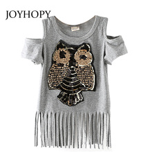 Sequins Owl Kids girls T shirt Short sleeve children t shirts for girl top clothes clothing Summer Spring(China)