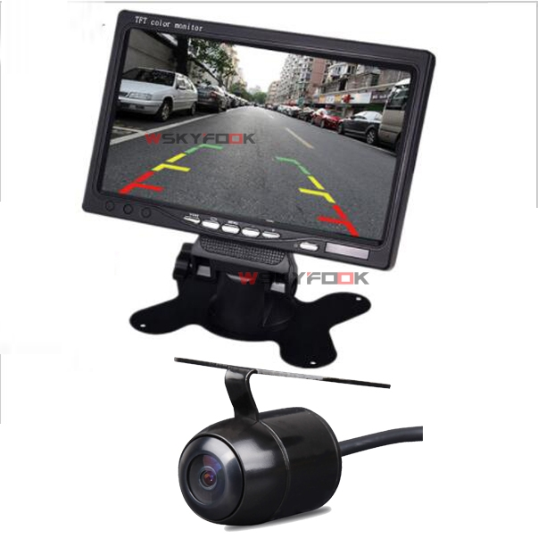7 Inch LCD Color Display Screen Car Rear View DVD VCR Monitor With LED Lights Night Vision Rearview Reversing Camera