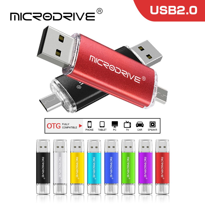 USB 2.0 Pen Drive Flash Drive Memory Stick Key 32GB OTG Micro USB Metal Red