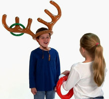2017 Christmas Toy Children Kids Inflatable Santa Funny Reindeer Antler Hat Ring Toss Christmas Holiday Party Game Supplies Toy