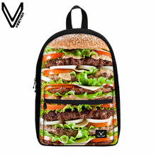 VEEVANV Casual Food Hamburger Canvas Backpacks Children School Bags Student Bookbags Zipper Canvas Bags Birthday Gifts For Kids