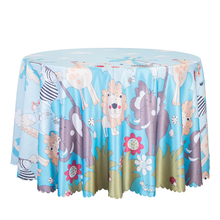10PCS Decor Cartoon Round Table Cloth Animal Printed Kids Table Cover Square Hotel Party Dining Tablecloth Blue Pink Wholesale