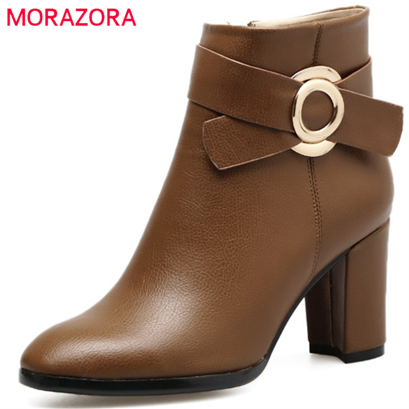 MORAZORA Big size 34-41 ankle boots for women PU soft leather high heels boots fashion shoes woman spring autumn party<br>