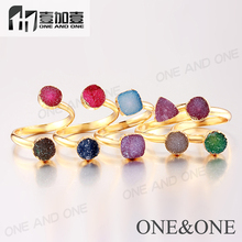Fashion wholesale Two Druzy Ring Dyed Colors Rings Random color(China)