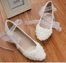 White lace flowers fashion wedding flats shoes for women TG058 ladies girl sweet handmade lace ankle straps dance low med heel
