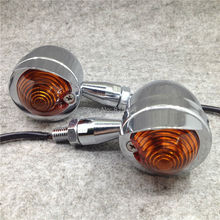 1 Pair Retro Universal Motorcycle Indicator Turn Signal Light Chrome Bullet Steel Motorbike Flashers For Kawasaki Suzuki Yamaha
