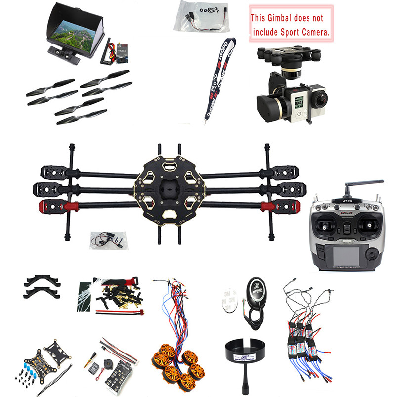 JMT 2.4G 9CH DIY RC PX4 GPS 5.8G FPV 680PRO Hexacopter Unassembled 6-Axle Kit ARF RC Drone MINI3D Pro Gimbal No Battery F07807-I