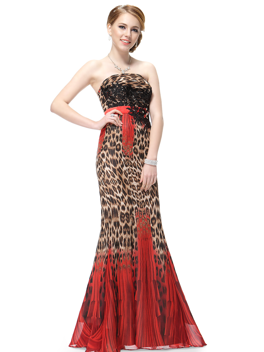 Evening Dress Print Long Prom Formal Gown Mermaid Evening Dresses ...