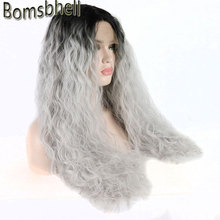 Bombshell Bouncy Curly dark roots ombre white silver grey synthetic lace front wig glueless natural hairline for white women Wig(China)
